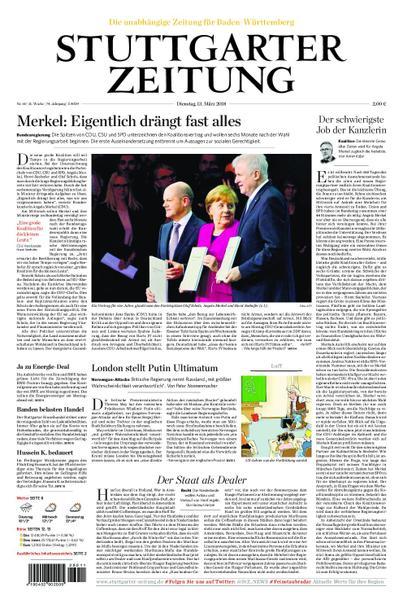: Stuttgarter Zeitung Stadtausgabe Lokalteil Stuttgart Innenstadt 13 Maerz 2018