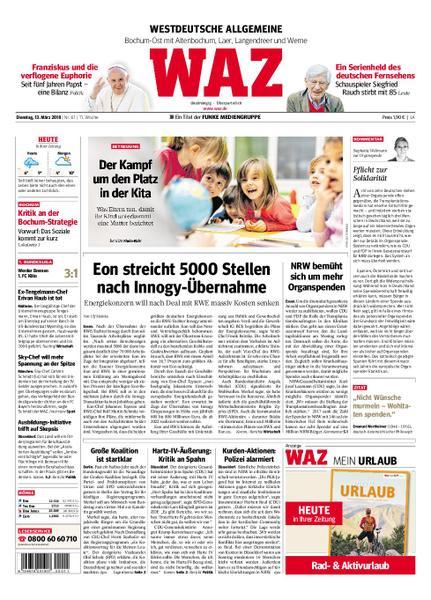 : Waz Westdeutsche Allgemeine Zeitung Bochum Ost 13 Maerz 2018