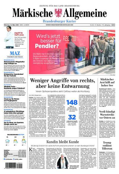 : Maerkische Allgemeine Brandenburger Kurier 14 Maerz 2018
