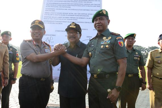 Pakde Karwo Apresiasi Komitmen Tiga Pilar Plus Kelola Pilkada Serentak Damai