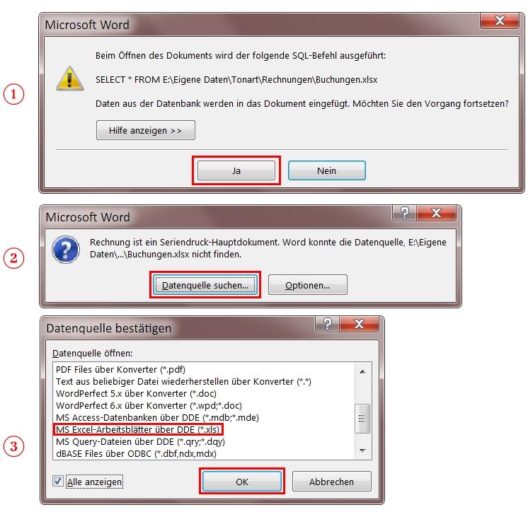 Frage - Word kann die Datenquelle... nicht finden. - MS-Office-Forum