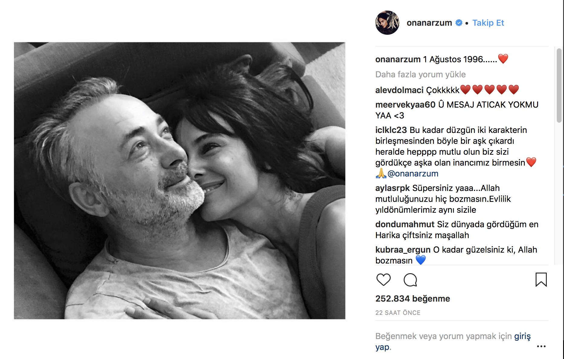 Arzum Onan-Mehmet Aslantuğ çifti evlilik yıl dönümlerini böyle kutladı