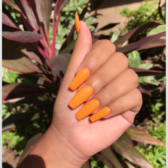 33 Trendy fall nails orange coffin nails designs , Fashionre
