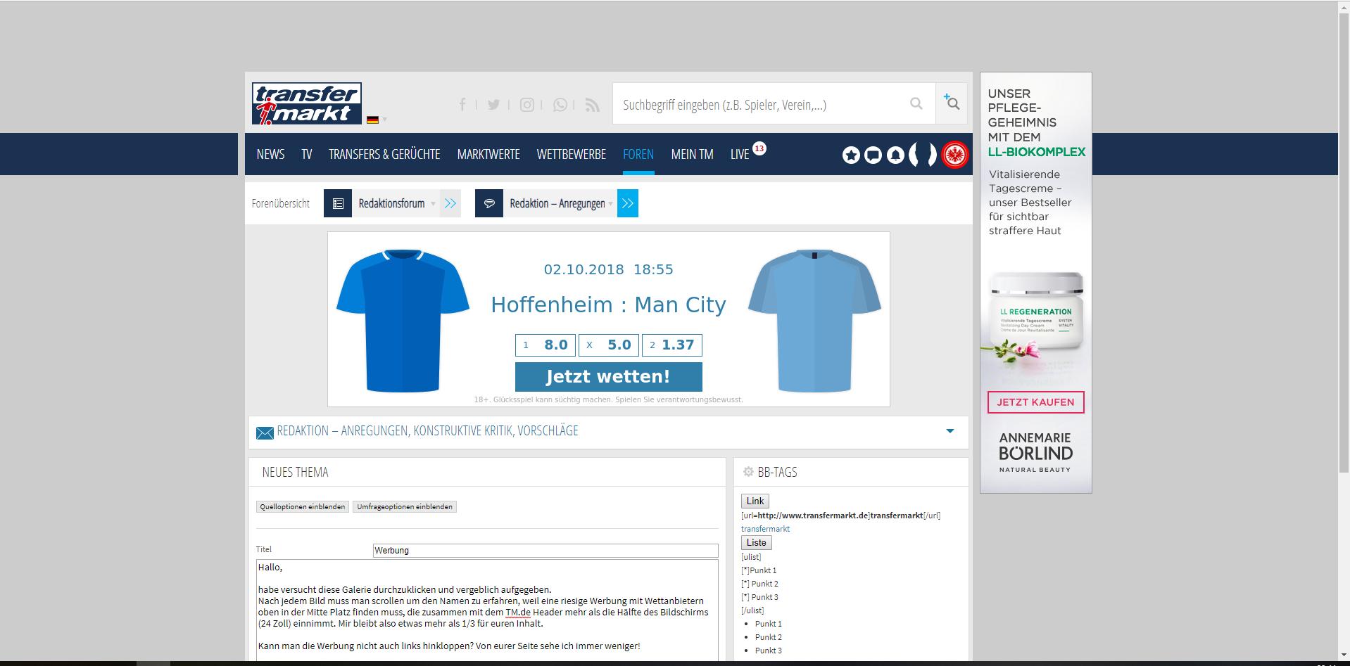 Werbung Seitenaufbau Redaktion Anregungen Konstruktive Kritik