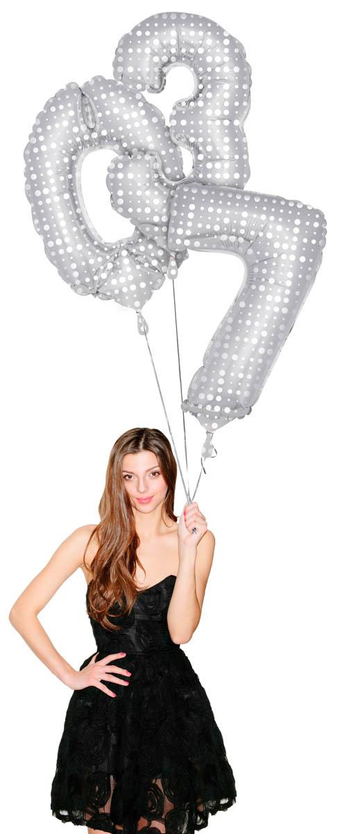 Folienballon groß silber/Punkte