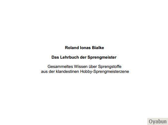 Buch Cover für Das Lehrbuch der Sprengmeister Von Roland Bialke