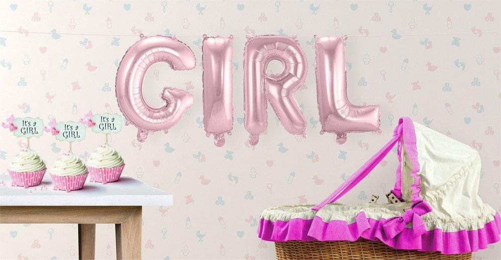 "Buchstaben-Girlande Folienballons ""GIRL"" Rosa F29283"