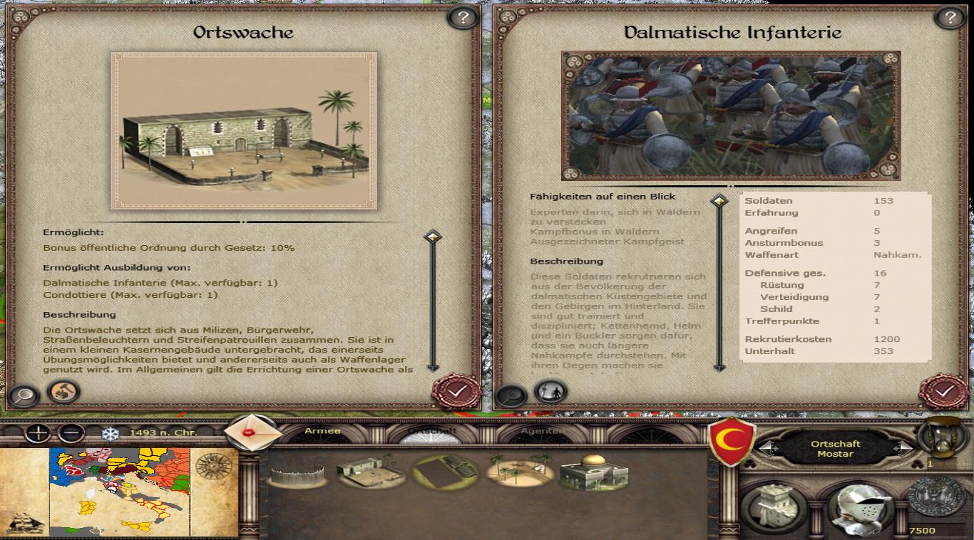 Border units available for Ottomans - Dalmatia